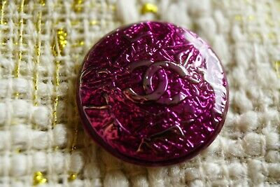 Chanel Buttons lot of 3  logo CC Gold   23  mm brooch 1 inch metal PURPLE