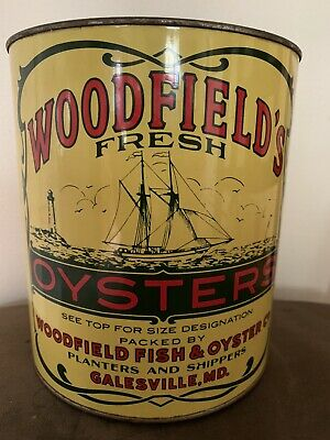 Vintage Woodfield's Oyster Tin Can With Lid Galesville Md.