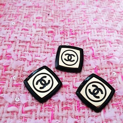 Chanel buttons  3 pieces metal ITALY Logo CC size 23 mm 1 inch Black & Gold