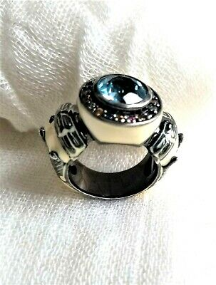 Unique Vintage Ancient Egyptian Style Blue Topaz,  Resin, Silver Ring Size 7