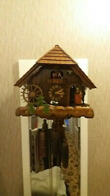 8 Day black forest German cuckoo clock musical rotating figures spares repair