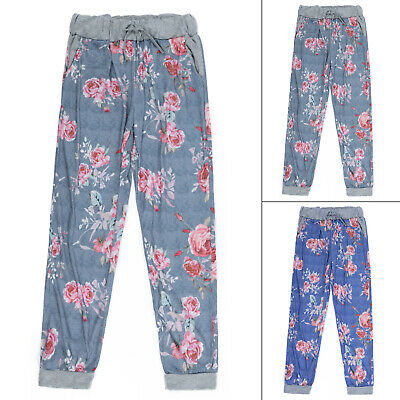 Casual Floral Trousers Printed Loose Girls Waist Pants Exercise Jogger