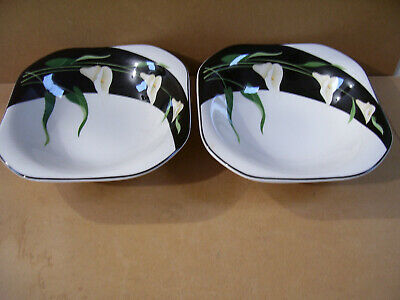 "Set Of 2 Black Lilies Quadrille by Sango 8 1/ 2"" Soup Cereal Bowls Made In Korea"