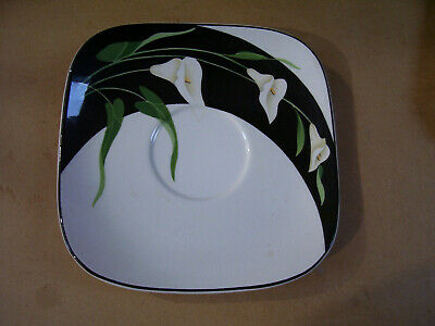 "Black Lilies Quadrille by Sango 7 1/ 2"" Saucer  No Cup Made In Korea"