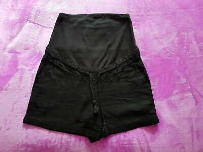 V by Very maternity Size 12 linen mix over bump shorts - Black