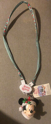 DISNEY PARKS Santa Mickey Glow Lanyard Christmas LED Light Up Necklace