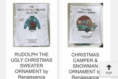 CHRISTMAS UGLY SWEATER ORNAMENTS HANDPAINTED NEEDLEPOINT CANVAS by Renaissance