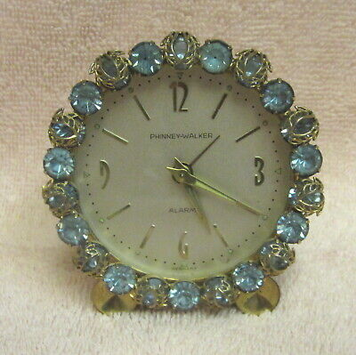 VINTAGE PHINNEY-WALKER BOUDOIR BLUE RHINESTONE ALARM CLOCK Made in Germany EXC