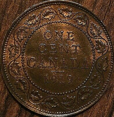 1919 CANADA LARGE CENT PENNY LARGE 1 CENT COIN - Excellent Red/brown example!