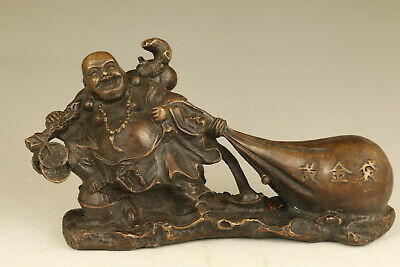 Big old copper hand cast Buddha statue figure netsuke Decoration