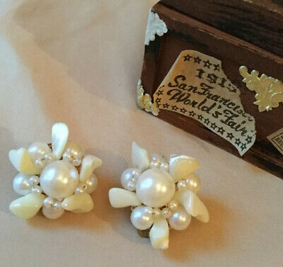 Vintage Mother Of Pearl And Faux Pearl Large Clip On Earrings