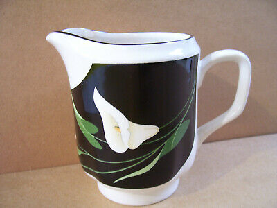 "Black Lilies Quadrille by Sango 10 Oz Creamer 4.5"" Tall  #5101 Made In Korea"