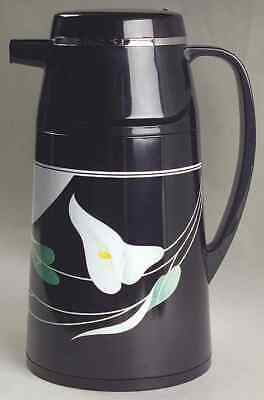 Black Lilies Quadrille by Sango Plastic Thermos Carafe & Lid Made In Korea
