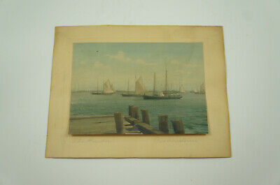 """The Harbor"" Provincetown Massachusetts Hand Colored Photograph, c.1920"