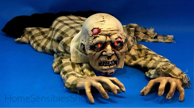 Crawling Ground Zombie Man Halloween Prop Sound Activated Moans Flashing Eyes