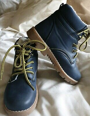 Girls Kids Boys Blue Warm Winter Lace Up Hiking Combat Boots Shoes Size 12