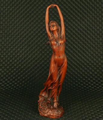 chinese old boxwood hand carved dance belle statue figure collectable decoration