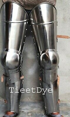 Medieval Leg Armour Pair Iron Steel Leg Guards WITH LEATHER STRIP