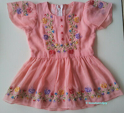 Vintage 70s Very Cute Little Stylish Colourful Flowery Embroidery Dress Pretty