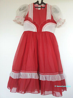 Vintage 70s Red White Embroidery Dress Very Pretty
