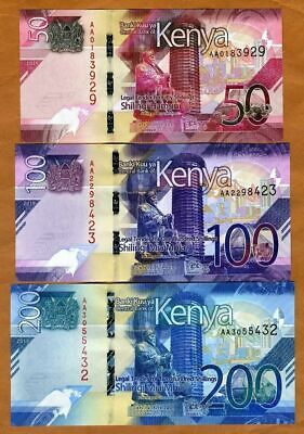 Kenya Set 3 Pcs Unc 50 100 200 Shillings 2019 P New Design Unc