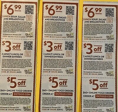 Olive Gardeen Restaurant Coupons, 3 Sets, Expires 12/7/19