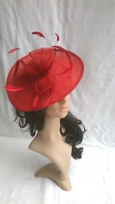 NEW ROUGE RED SINAMAY & FEATHER FASCINATOR HAT.Shaped saucer disc,Wedding.