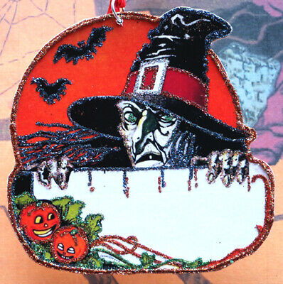 Glittered Wooden Halloween Ornament~*Witch & Fence*~ Vintage Card Image~Handmade