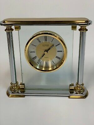 Danbury Mantel/Desk/Table Clock, Glass Metal Quartz, German Movement, antique