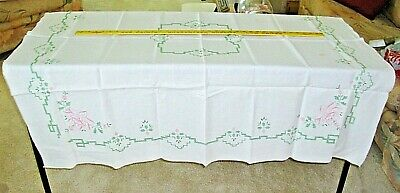 """Vintage Linen Tablecloth White w Pink / Green Embroidered Design  50"""" X 80"""""""