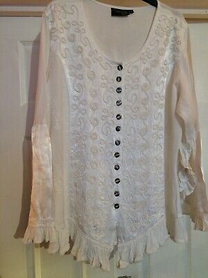 Vintage Hippie White Indian Blouse - Romeo & Juliet Collection