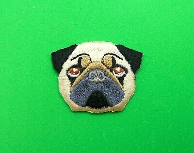 Pug Dog Fly Iron-On Patch Embroidered Applique Canine Pet Best Friend Souvenir