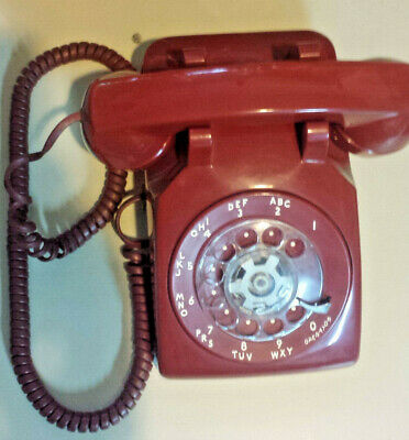 Vintage Western Electric AT&T 500 Red Rotary Phone Bell System  Made by Western