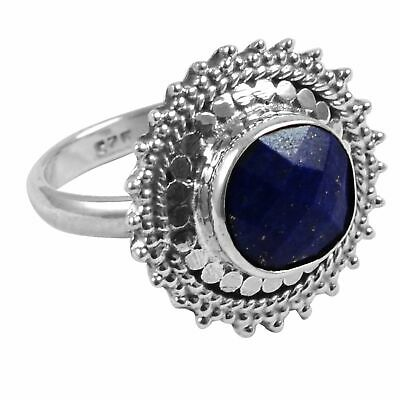 Faceted-Lapis Lazuli Solid 925 Sterling Silver Ring  Jewelry Size-6.25 AR-2646