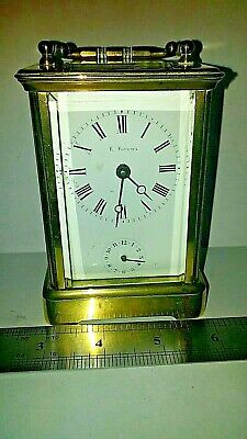 antique brass french  carrage clock  whith alarm function