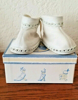 Vintage Buntees Hand Crafted Leather Baby Moccasins White 4C Original Box/Papers