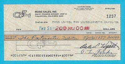 Leo Fender G&L 1982 Autographed Check Made Out To Postmaster Fullerton, Ca.