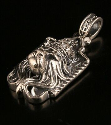 Precious Chinese 925 Silver Pendant Statue Lion Mascot Handmade Gift Collection