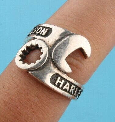 Precious Chinese 925 Silver Ring Wrench Solid Hand-Made Mascot Collection Gift