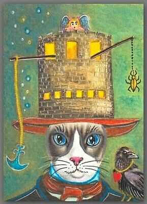 ACEO watercolor painting  - cat kitten magic hat fairy castle