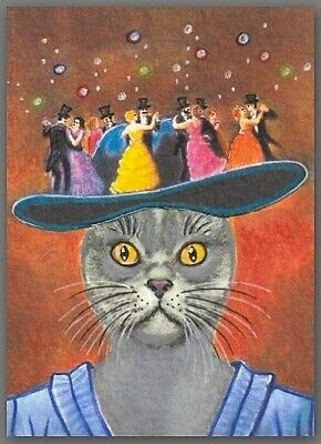 ACEO watercolor painting  - cat kitten magic hat waltz dance