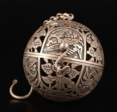 Precious China Tibet Silver Incense Burner Pendant Relief Bird Collec Gift