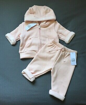 Baby Girl 3-6 Months Baby Gap Pink Cozy Fleece Lined Zip Up Bear Hoodie & Pants