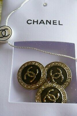 CHANEL BUTTONS   4 pieces   France Logo CC size 24 mm 1 inch Metal & Crystals
