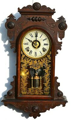 Vintage Antique Walnut Kitchen Wall Hanging Clock With Alarm / Scarce