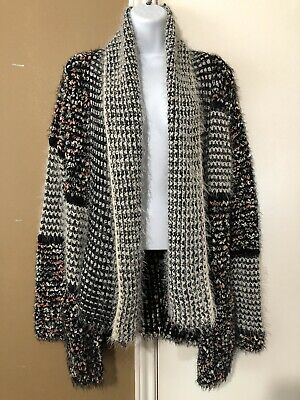 Women's Multi-Colored Hand Knit Cascading Open Front Cardigan Sweater ADORE Sz S
