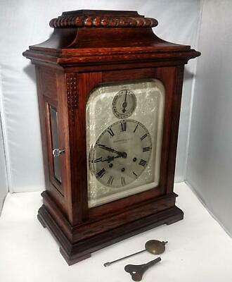 Antique Gustav Becker 8 Day Westminster Chimes Oak Bracket Mantel Clock Serviced