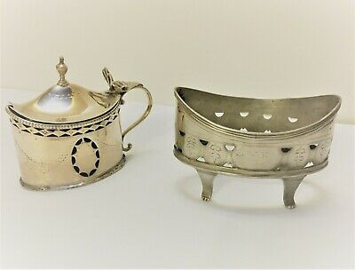Rare George III Silver Cruet - Salt Boat & Mustard Pot London 1788 & 1803