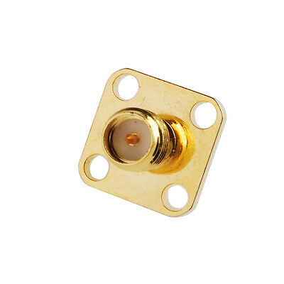 RP-SMA female Straight 4 Hole Panel Mount Solder Cup