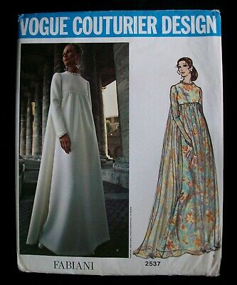 VOGUE Couturier Design Vintage 1971 Pattern 2537 Fabiani Evening Dress Uncut 12